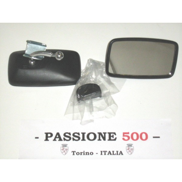 EXTERNAL RECTANGULAR BLACK MIRROR - PLASTIC BODY & CLAMP FIXING -  FIAT 500