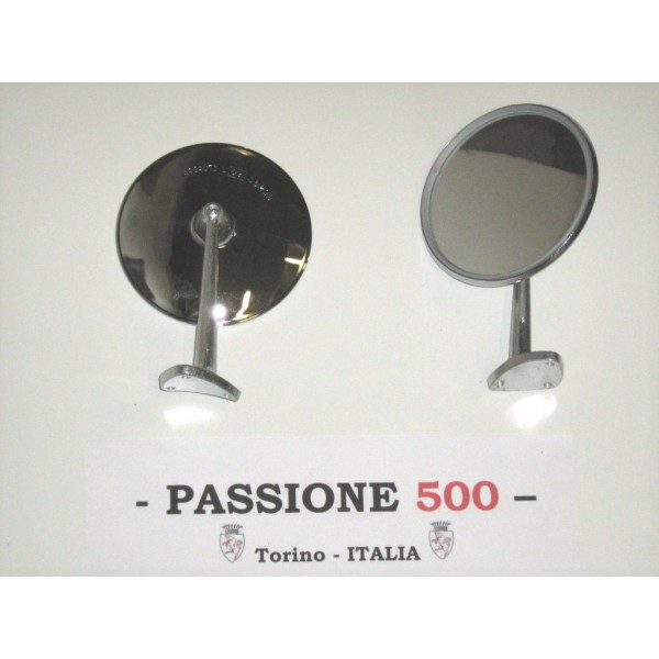 ROUND EXTERNAL CHROME MIRROR - METAL BODY & SCREW FIXING -  FIAT 500 GIARDINIERA