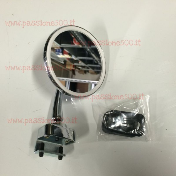 ROUND EXTERNAL CHROME MIRROR - METAL BODY & CLAMP FIXING -  FIAT 500